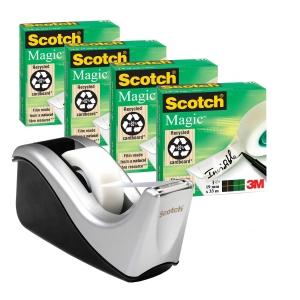 Scotch 810 Magic teippi 4 rullaa ja C60 teippiteline